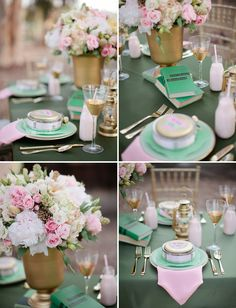 Soft pink, green, and gold wedding colours.