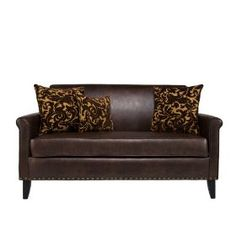 angelo:HOME Harlow Sofa, Renu Leather Coffee with Java Brown Velvet Pillows $515.00