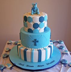 Bear Baptism Cake by cakespace - Beth (Chantilly Cake Designs), via Flickr
