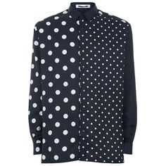McQ Alexander McQueen Loose Fit Polka Dot Shirt ($410) ❤ liked on Polyvore featuring men's fashion, men's clothing, men's shirts, men's casual shirts, mens polka dot shirt, mens loose fit swim shirt, mens spotty shirt and mens cutaway collar dress shirts