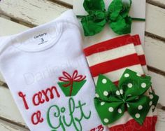 Baby Girl Christmas Outfit - infant bodysuit, ruffle bow leg warmers - I am a Gift, Psalm 127:3- red and emerald green