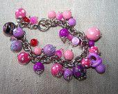 bracelet multi perles violet et rose