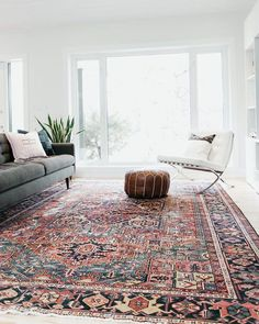 May 2018 - Large Bold Area Rug. Vintage Heriz with red and blue colours. Great pop of colour for a minimal space. Living Room Area Rugs, Living Room Carpet, Living Room Grey, Bedroom Carpet, Rugs In Living Room, Living Room Designs, Living Room Decor, Living Spaces, Red Persian Rug Living Room
