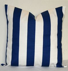 Navy Blue and White Striped 18 inch Decorative Pillows Accent Pillows Throw Pillow Cushion Covers