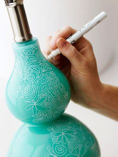 Take a boring lamp and make it fabulous - you can do this with pottery, etc. as well