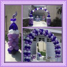 Sofia the 1st Theme balloon decor.  Lavender, Purple, White balloon table spiral arch, castle inspired spiral column & string of pearls arch.  #Balloonsville