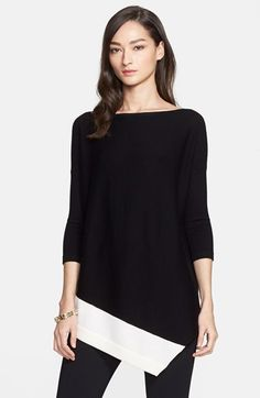 St.+John+Collection+Asymmetrical+Merino+Wool+Sweater+available+at+#Nordstrom. Wow live it but don't love the $$$