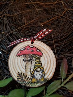 Hand drawn woodburned magnet with a sweet Nordic Gnome Wood Slice Crafts, Wood Burning Crafts, Wood Burning Art, Wood Crafts, Painted Ornaments, Diy Christmas Ornaments, Christmas Decor, Fun Crafts For Kids, Arts And Crafts