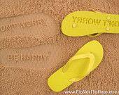Custom Sand Imprint Flip Flops. Personalize With Your Design. No Minimum Order Quantity :). $19.95, via Etsy.