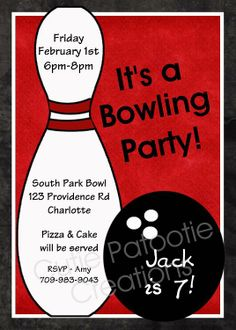 Printable Bowling Party Invitations Free Themes Kids Birthday