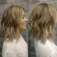 balayage highlights brunette to blonde lob lon bob haircut https://www.blisshairsalon.net/