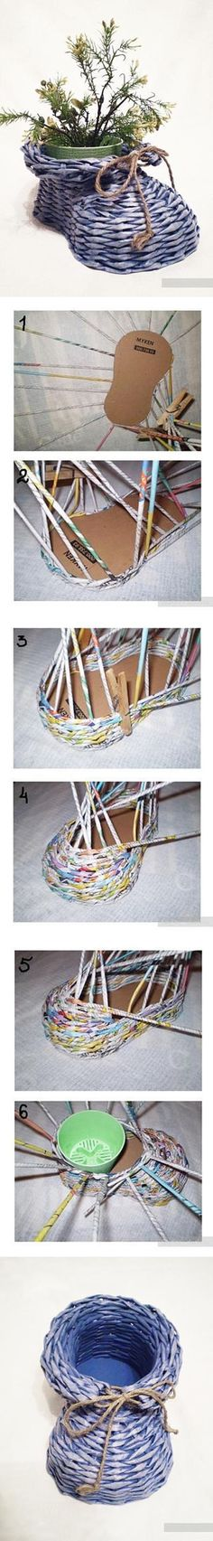 DIY Newpaper Roll Woven Shoe Vase | www.FabArtDIY.com LIKE Us on Facebook ==> https://www.facebook.com/FabArtDIY