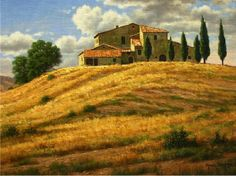 Galleries in Carmel California- Jones & Terwilliger - Mark Pettit, Artist Landscape Drawings, Landscape Art, Landscape Paintings, Beautiful Paintings, Beautiful Landscapes, Tuscany Landscape, Scenery Paintings, Watercolor Architecture, Italy Pictures