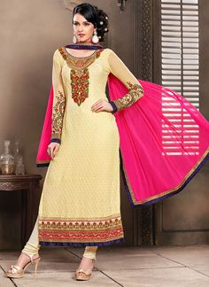 Nice Embroidered Georgette Straight Suit