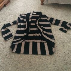 Black and Tan striped cardigan Very cute to dress up or down. Cotton so it is not thick Sweaters Cardigans