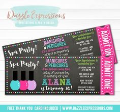 Printable Spa Chalkboard Ticket Birthday Invitation | Manicure and Pedicure Party | Girls Nail Salon Invite | Pampered Party | Spa Party | Cupcake Toppers | Favor Tag | Food Labels | Banner | Signs | Party Package Decor Available