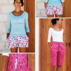 Jak ušít půlkolovou sukni (video návod + tipy pro konstrukci) – Prošikulky.cz Patterned Shorts, Woven Fabric, Bermuda Shorts, Women's Shorts, Short Shorts, Peplum, Sewing, Shirts, Dresses