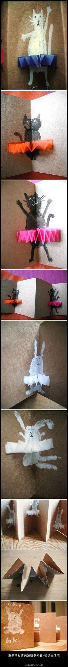在Hazel Terry(Scotland)的flickr相册里面看到的ballet rabbits和ballet cats卡片。好像兔子和猫子是指纹按出来的,可惜照片拍得不是很全,idea蛮好的,可以用作小盆友手工呢。很有爱的说。更多精彩请关注@晓冬知春-视觉生活志