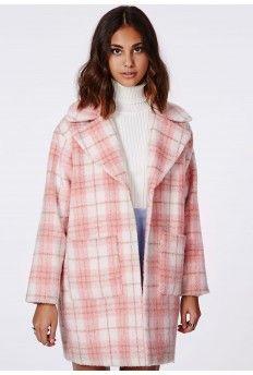 Lena Cocoon Coat Pink Check