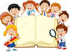 Cartoon school children with book isolated. Illustration of Cartoon school child , School Board Decoration, School Decorations, School Cartoon, Cartoon Kids, Kindergarten Coloring Pages, Kids Reading Books, School Frame, School Murals, Kids Background