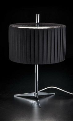 Metallux Contract Italian Table Lamp With Black Cotton Shade And Chrome  Stand