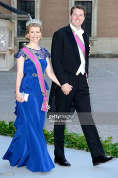 Hereditary Princess Kelly of Saxe-Coburg and Gotha and Hereditary Prince Hubertus of Saxe-Coburg and Gotha attend the wedding of Princess Madeleine of Sweden and Christopher O'Neill hosted by King Carl Gustaf XIV and Queen Silvia at The Royal Palace on June 8, 2013 in Stockholm, Sweden.  (Photo by Pascal Le Segretain/Getty Images)