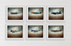 Vintage Wwii Airplanes on Sky Background Setof 6 Photo Prints, Airplane Wall decor, Boys Room Decor, Airplane Wall Art by shawnstpeter on Etsy https://www.etsy.com/listing/216483817/vintage-wwii-airplanes-on-sky-background