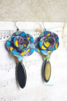 Multicolor Flower earring dangle Polymer clay by chezviolette