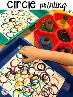 Shape Activities for Preschool, Pre-K, and Kindergarten - Pocket of Preschool - Preschool Art - Circle printing! Plus Shapes activities for preschool, pre-k, and kindergarten. 2d Shapes Activities, Preschool Learning Activities, Infant Activities, Kindergarten Worksheets, Art Activities For Kindergarten, Preschool Shape Activities, Art Activities For Preschoolers, Childcare Activities, Preschool Art Lessons