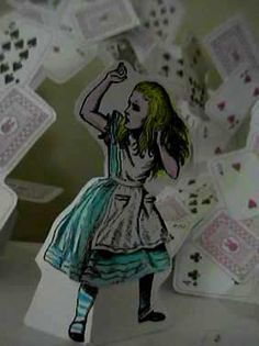 "This is awesome! Pop-up card by paperflicker on Flickr: ""I made Robert Sabuda style Alice pop-up card.  I used a coloring book of Dover (Alice in Wonderland Coloring Book: Picture by Sir Johon Tenniel) and ordinary cards were scanned and used."""