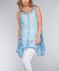 Look at this #zulilyfind! Blue & White Sheer Dots Linen-Blend Sidetail Tunic - Women #zulilyfinds