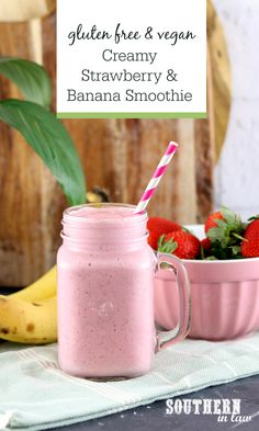 Easy Creamy Strawberry and Banana Smoothie Recipe – Gluten free, sugar free and high protein with Greek yogurt or without yogurt for a vegan option. Perfect for kids and adults, this simple healthy recipe will become a family favorite. Blackberry Smoothie, Strawberry Banana Smoothie, Apple Smoothies, Healthy Smoothies, Smoothie Recipes, Shake Recipes, Healthy Drinks, Healthy Snacks, Healthy Recipes