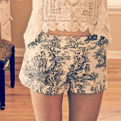 Trash To Couture: DIY Printed Victorian Shorts