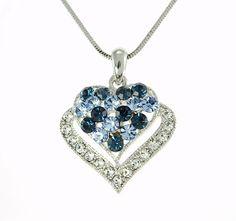 "Heart W Swarovski Crystal Blue Elegant Gift Love 18"" Chain Necklace Pendant #Pendant"