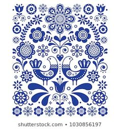 Folk Embroidery Design Scandinavian cute folk art vector decoration with birds and flowers, Scandinavian navy blue floral pattern. Retro, traditional floral ornament inspired by Swedish and Norwegian traditional embroider -
