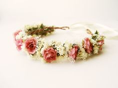 An unabashedly feminine flower crown of natural, (dried) statice and babys breath, and dusty pink fabric roses. NoonOnTheMoon Etsy Shop