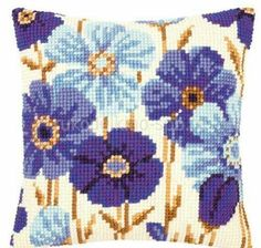 Cross Stitch Kits Blue Blossoms Pillow Top - Cross Stitch, Needlepoint, Embroidery Kits – Tools and Supplies Needlepoint Designs, Needlepoint Pillows, Needlepoint Stitches, Needlepoint Kits, Needlework, Cross Stitch Embroidery, Cross Stitching, Embroidery Patterns, Flower Embroidery