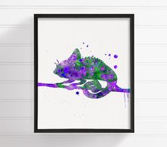 Purple and Green Chameleon, Chameleon Art, Chameleon Print, Watercolor Chameleon, Chameleon Painting, Nursery Wall Decor, Kids Room Decor