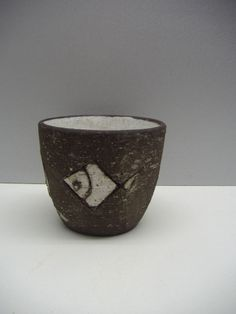 "Westraven Holland planter in brown chamotte fish 4.5"" dutch mid-century ceramics"