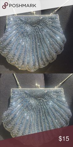 Vintage Walborg Sequin Gatsby Chain Evening Purse A brilliantly sparkling mini evening bag / coin purse in dazzling silver sequins & tiny silver beads accented with miniature pearls by the great Walborg. Walborg Bags Clutches & Wristlets