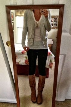 Grey Cardigan + Off White Shirt + Jeans + Knee High Boots