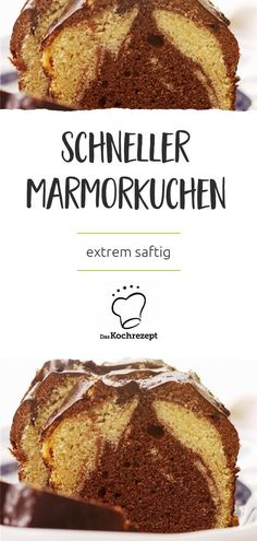 Schokoladig, lecker, marmoriert: Der Marmorkuchen ist ein echter Kuchenklassiker… Chocolate, delicious, marbled: the marble cake is a real cake classic. Preparation is particularly quick with our recipe. It also gets extra juicy – Mmm! Healthy Dessert Recipes, Healthy Drinks, Paleo Recipes, Smoothie Recipes, Healthy Snacks, Easy Recipes, Desserts Sains, Bon Dessert, Marble Cake