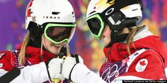 KRASNAYA POLYANA, Russia -- Justine Dufour-Lapointe of Montreal has won Canada's first gold medal of the Sochi Olympics -- and her sister Chloe is on the podium beside her.Justine finished first with. Freestyle Skiing, Olympic Gold Medals, Of Montreal, Olympic Team, Winter Olympics, Football Helmets, Sisters, Canada, Chloe