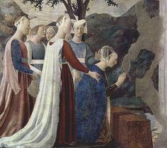 Царица Савская преклоняет колени перед Животворящим Древом, фреска Пьеро делла Франческа, Базилика Сан-Франческо в Ареццо.