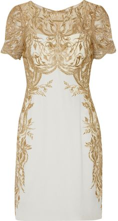 Marchesa Notte Embroidered Tulle and Silk-Crepe Mini Dress
