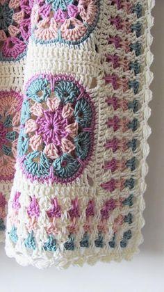 - Crochet Baby Girl Blanket - Soft Cotton Blanket - Baby Shower Gift - Colorful Flower Afghan - White Heirloom Blanket - Ready To Ship Crochet Square Patterns, Crochet Blanket Patterns, Baby Blanket Crochet, Crochet Baby, Crochet Flower, Cotton Crochet, Scrap Yarn Crochet, Crochet Afghans, Hand Crochet