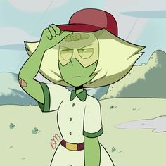 "i cant draw peridot wearing cute clothes w/o getting questions SO she hides her gem w a bandaid bc honestly she fell face flat twice and needs it ;""("