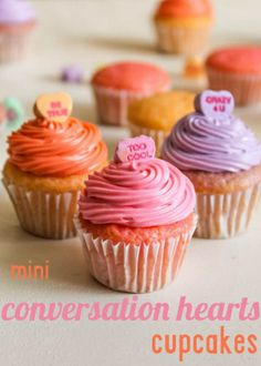 Food: Eleven Cute Valentine's Day Recipes  Conversational! > Mini Conversation Hearts Cupcakes | The Baking Robot