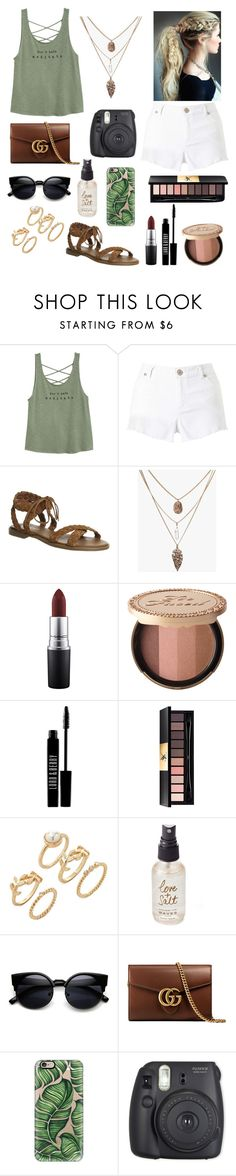 """""""Don't hate; meditate!"""" by emily-colquitt ❤ liked on Polyvore featuring Miss Selfridge, Office, MAC Cosmetics, Too Faced Cosmetics, Lord & Berry, Yves Saint Laurent, Forever 21, Olivine, Gucci and Casetify"""