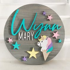 Excited to share this item from my shop: Custom name sign / unicorn ice cream / round wood sign Nursery Name, Nursery Signs, Nursery Decor, Girl Nursery, Wood Name Sign, Wood Names, Diy Wood Signs, Wall Signs, Wood Crafts